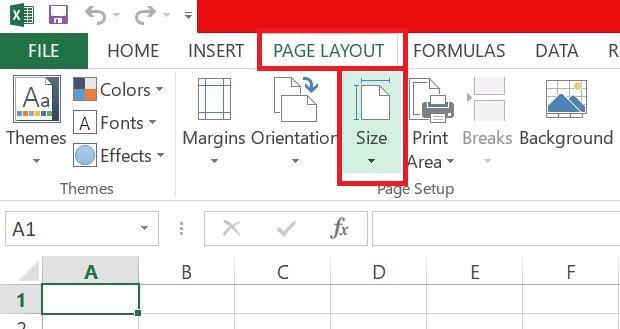 klik page layout, size